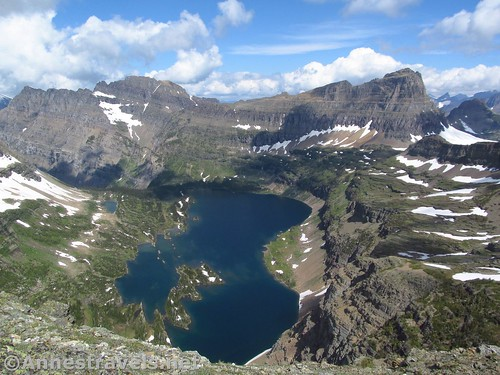 Looking down on Hidden Lake from the Dragontail in Glacier National Park, Montana