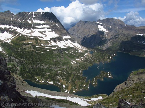 Bear Hat Mountain with Hidden Lake below from the Dragontail in Glacier National Park, Montana