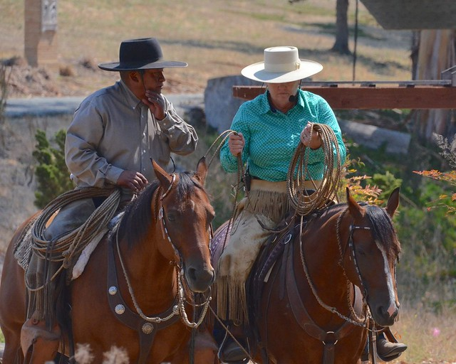 Buddy and Laurie Montes. They ride the old Vaquero traditions and their horsemanship is amazing