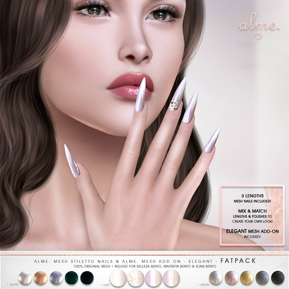 "Alme. for Belle. Events ""Alme Mesh Stiletto nails & Add On//Elegant"" ♥"