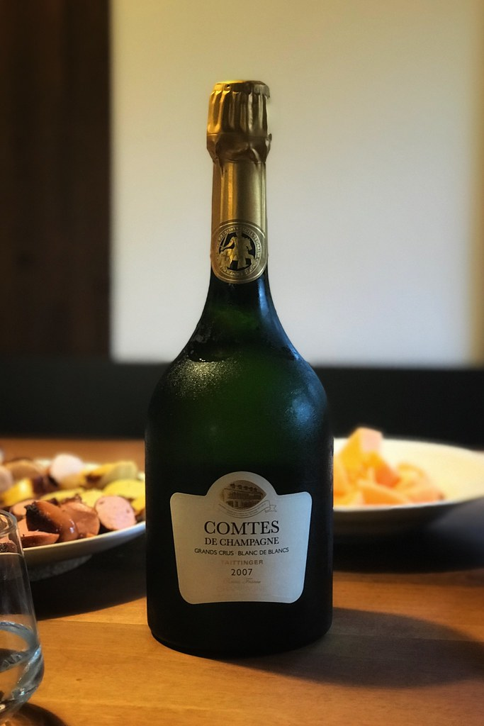 Bottle of Taittinger champagne