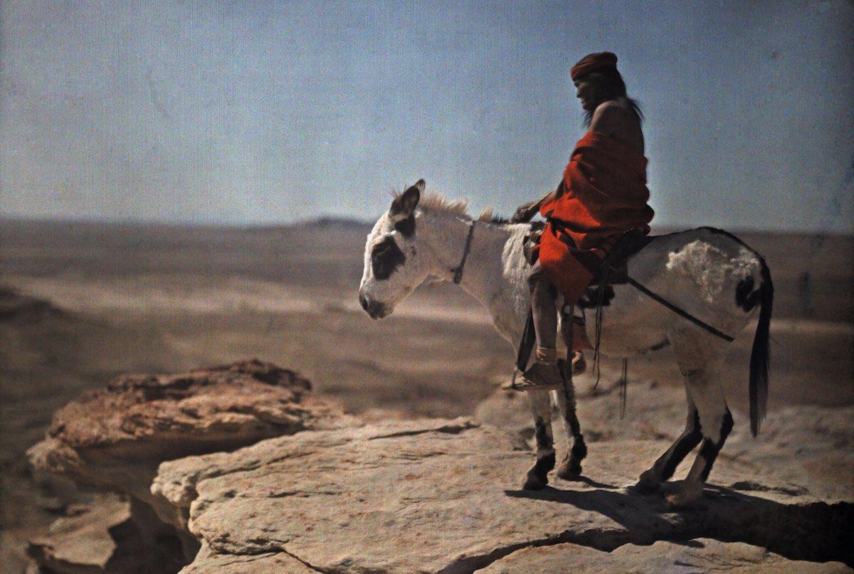 1916. Индеец хопи на своем ослике стоит на краю высокой горы.