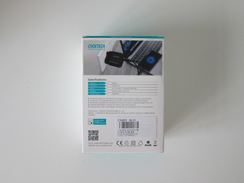 Choetech USB Wall Charger - Box Back