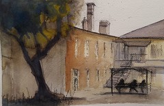 Parramatta Female Factory. Watercolor and charcoal.