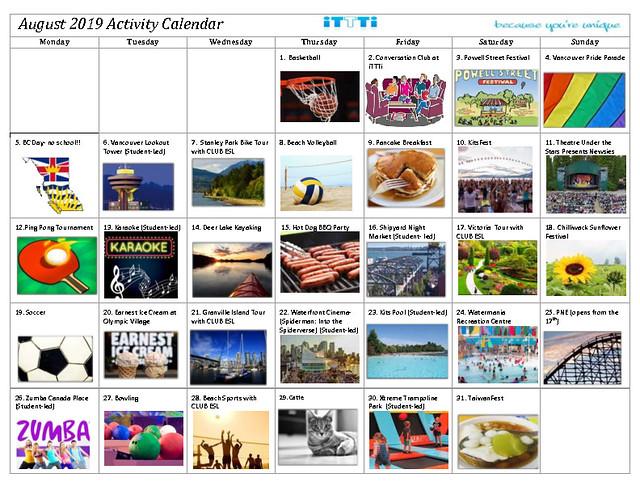 August 2019 - Activity Calendar