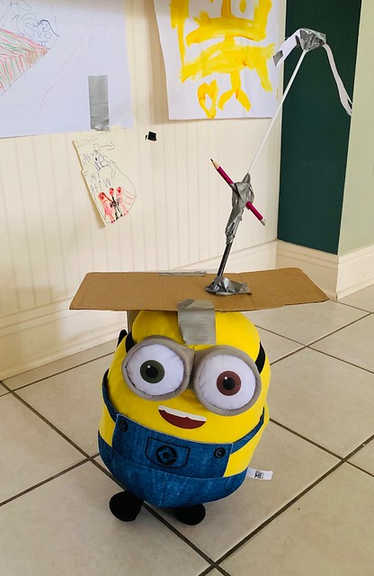 """Bob Minion has morphed into a """"helicopter"""" in the hands of a six-year-old girl!"""