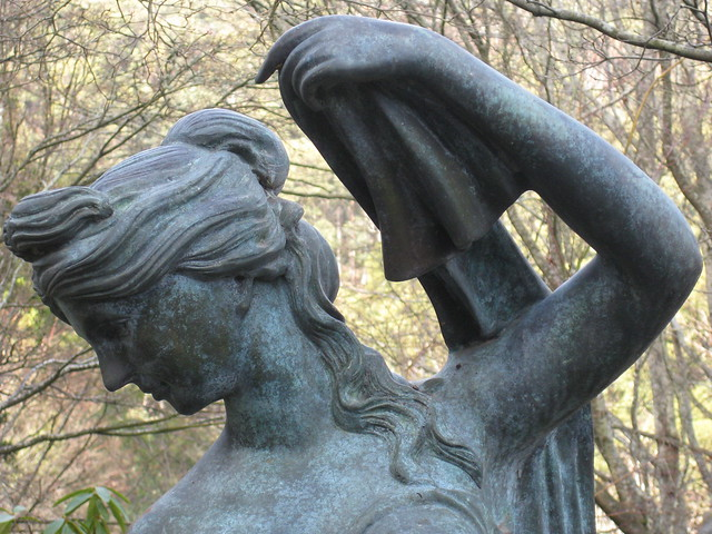 Detail of a Classical Bronze Statue of a Woman - the Forest Glade Gardens; Mount Macedon Road, Mount Macedon