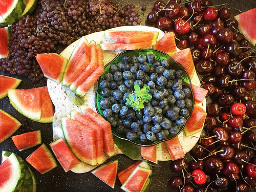 Food & art: 'themed' fruit plate designed by the caterer for my art show 'Precious Stones'