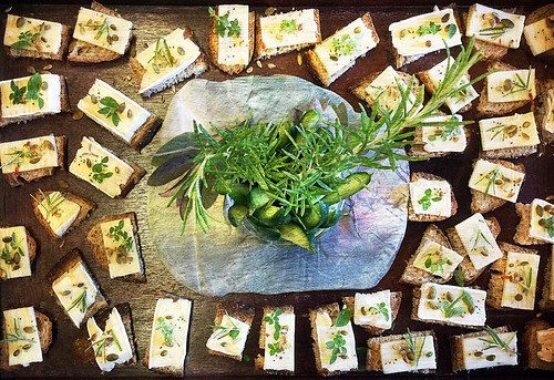Food & art: 'themed' cheese & bread designed by the caterer for my art show 'Precious Stones'