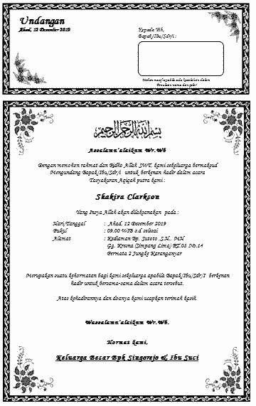 20+ Contoh surat undangan tasmiyah dan aqiqah terbaru yang baik