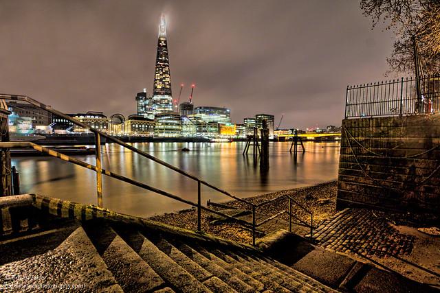 Custom House Steps Thames Cityscape