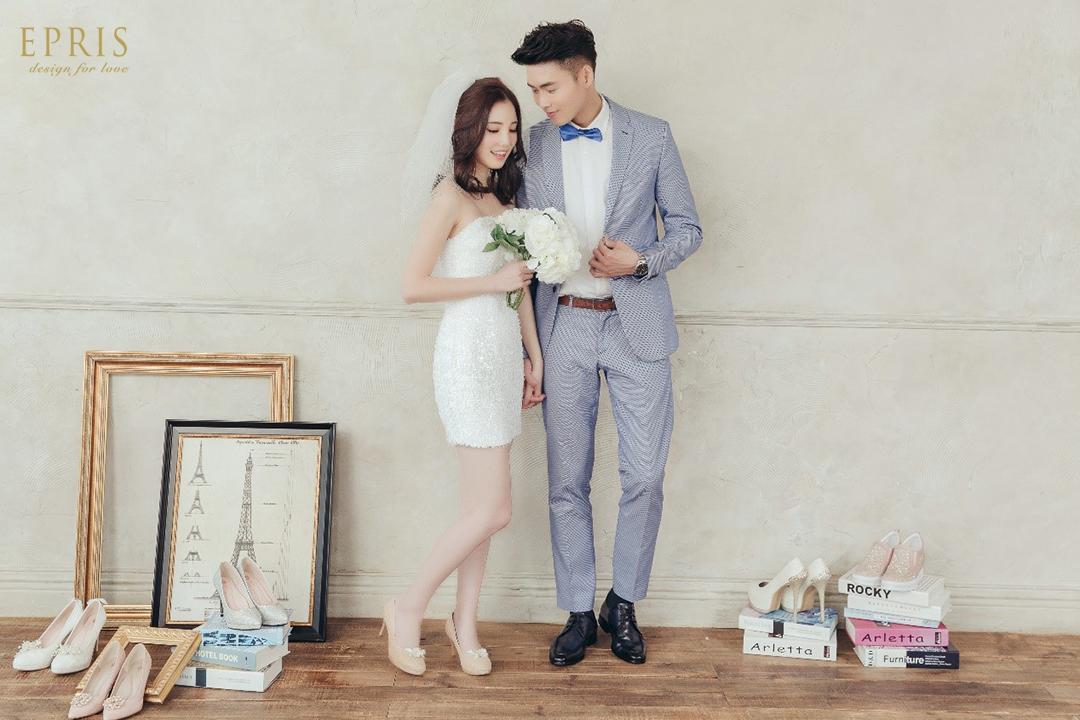 藍色西裝 藍色皮鞋 結婚皮鞋