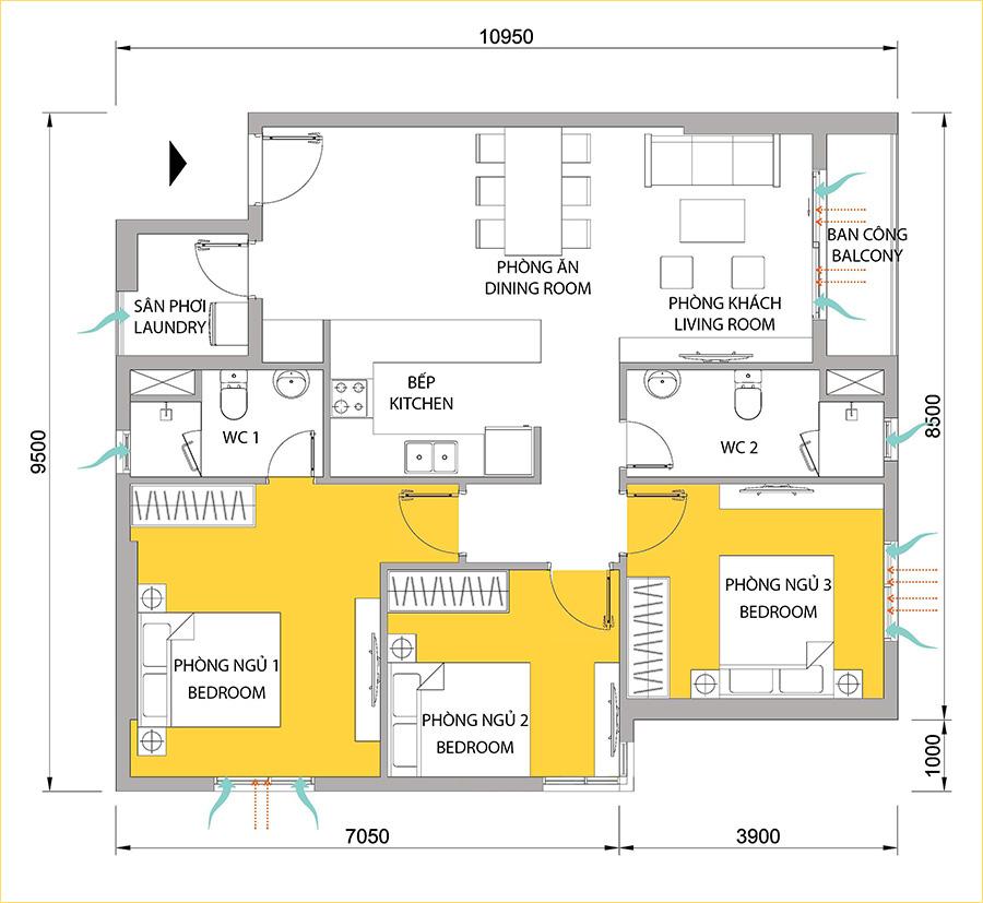Mặt bằng căn hộ M-One 3 phòng ngủ cho thuê.