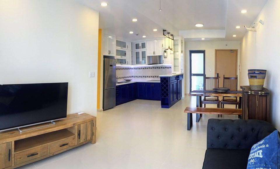 Phòng khách căn hộ 3 phòng ngủ.