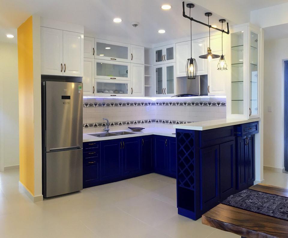 Cho thuê căn hộ M-One 3 phòng ngủ, ảnh thực tế nhà bếp.