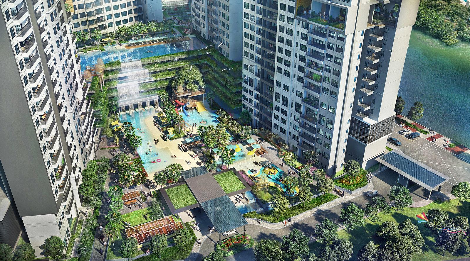 Thiết kế theo kiểu Singapore, phần lớn diện tích khu căn hộ The Infiniti dành cho cây xanh và mặt nước.