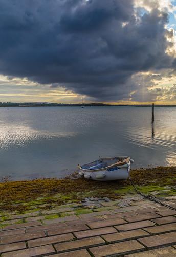 langstone langstonebridge boats boatsatlowtide sunrise dramaticclouds clouds
