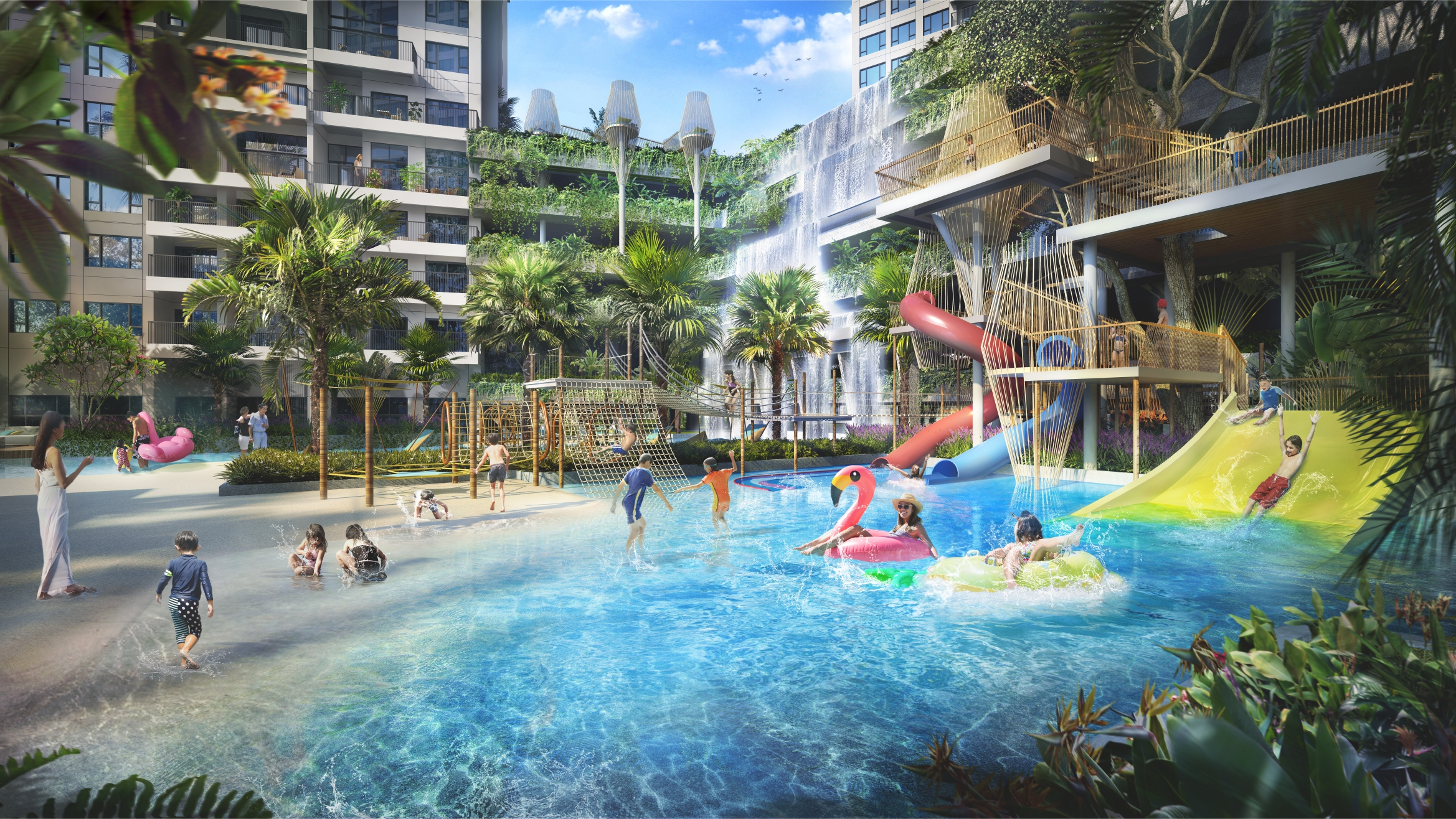 Tiện ích hồ bơi, bãi biển nhân tạo và khu vui chơi dưới nước tại The Infiniti.