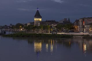 Libourne, France after dark.