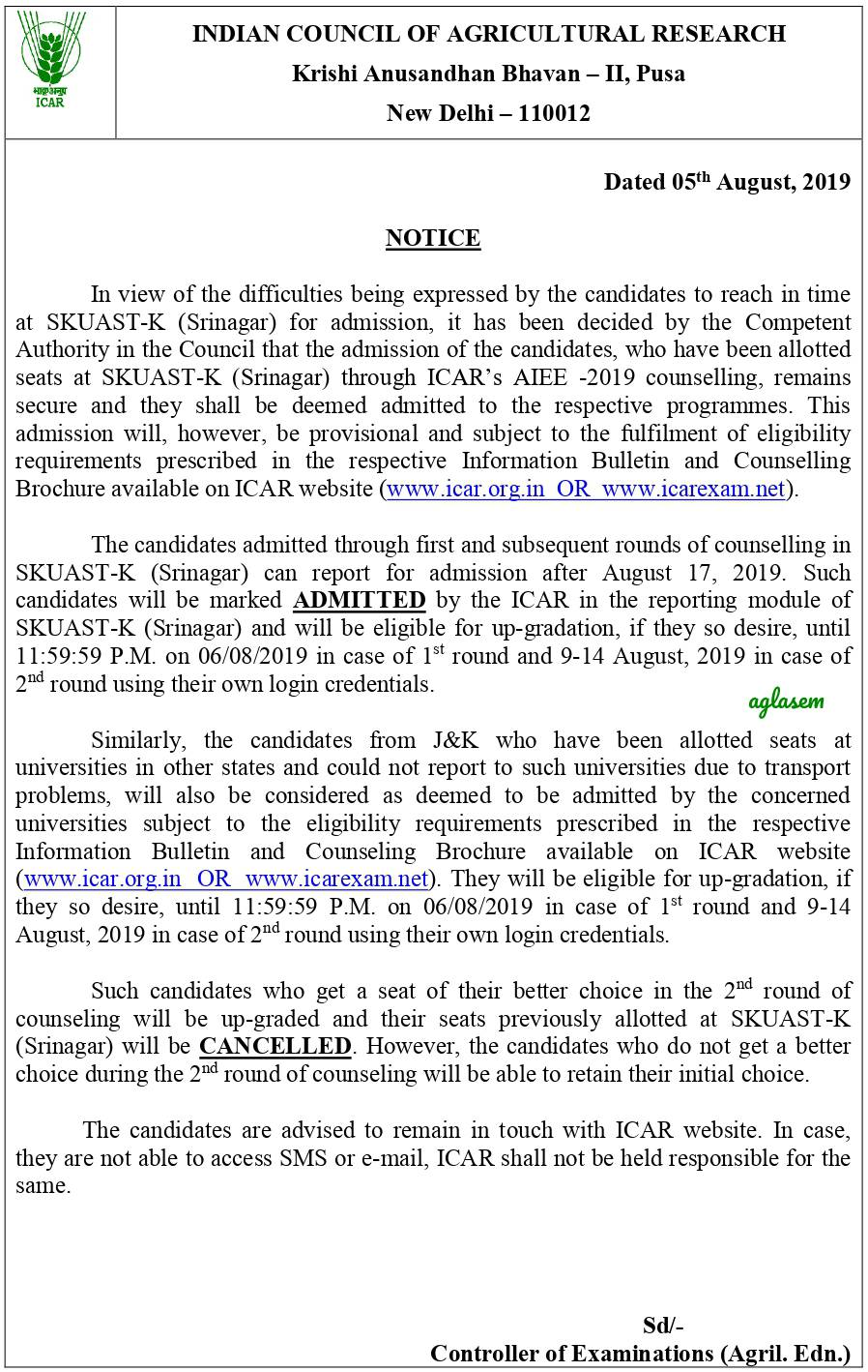 ICAR 2nd Round Seat Allotment 2019 Published at icarexam.net, Special Notice for J&K at icar.org.in