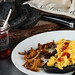 Sweet chilli jam, scrambled eggs, chanterelle and charcoal sourdough