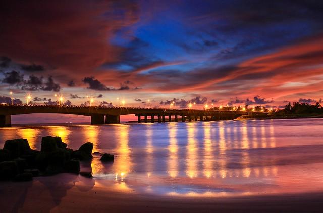 夕燒四草大橋(Sunset @ Shi Tsau bridge)。