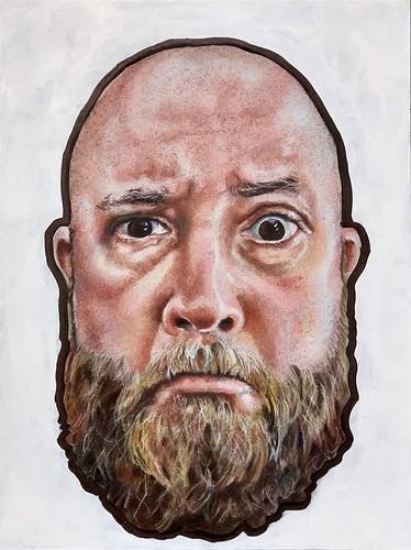 Colored pencil portrait entitled Self Portrait XIV