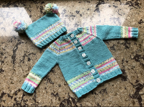 Lise knit this super cute mock fair isle  baby cards loosely based on a photo someone sent her