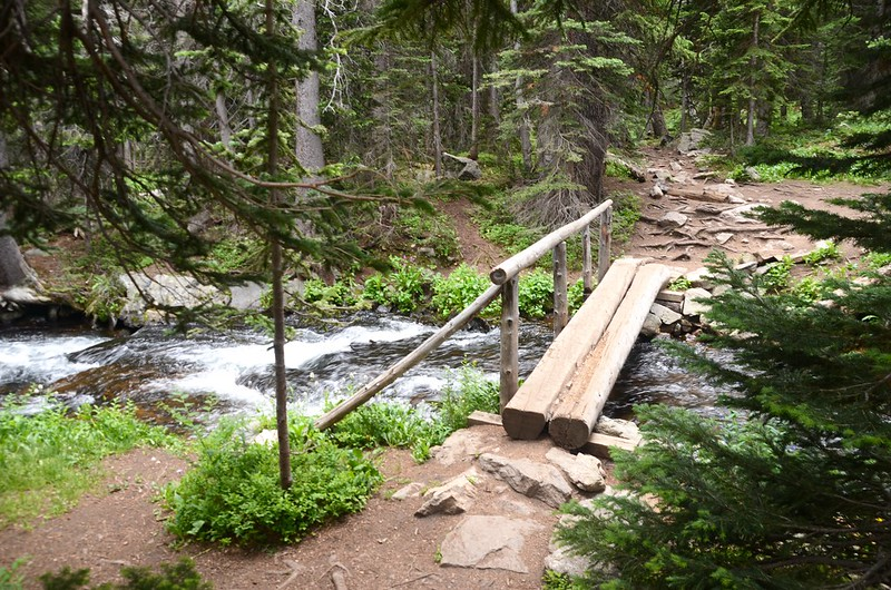 The log bridge  across the North Fork Middle Boulder Creek