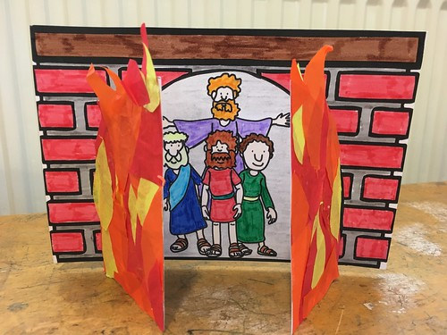 Fiery furnace with the angel protecting them