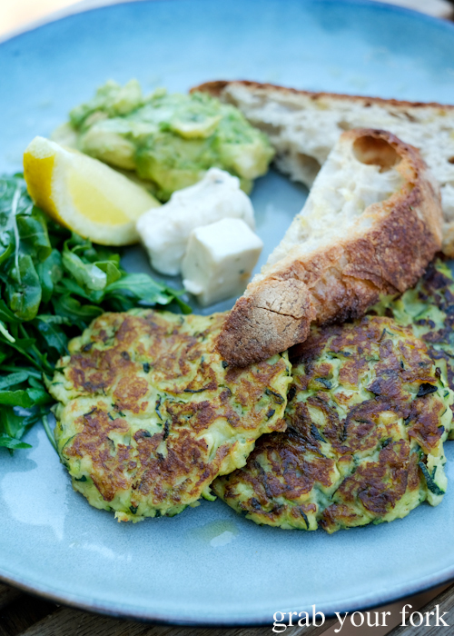 Vegan zucchini fritters at Gardeners Lodge vegan cafe in Camperdown Sydney