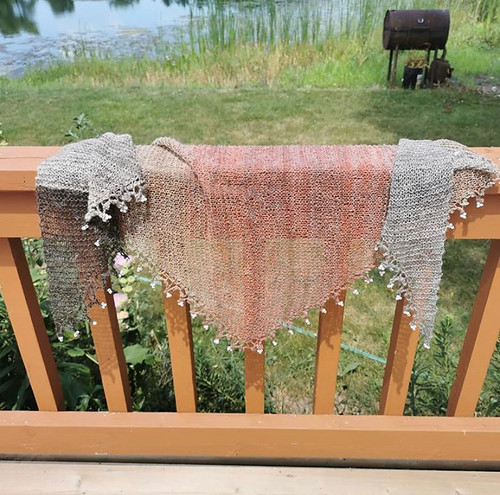 Paulette's shawl with a gorgeous edge that she worried about but finished and blocked anyway...what?? I don't see anything wrong!! It is beautiful!!