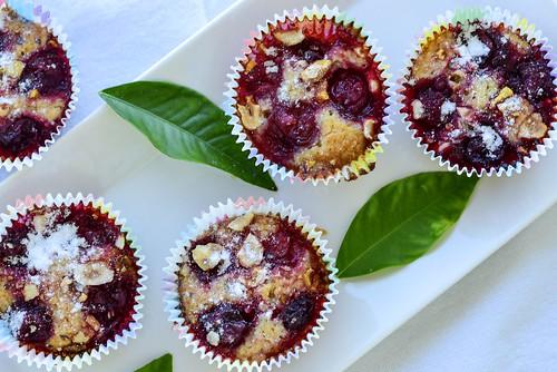 Sour cherry almond financiers, glutenfree