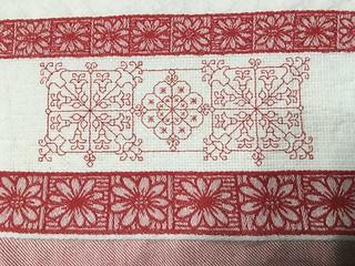 Red Blackwork on Towel