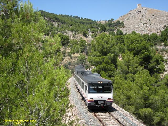 Tren de media distancia de Renfe (Línea Xàtiva-Alcoi) a su paso por COCENTAINA (Alicante)