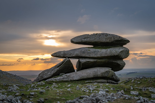 showerytor bodminmoor cornwall england sunset rocks