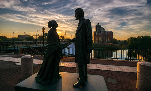 abeandmary abrahamlincoln abrahamandmary conestogariver connecticut foundersbridge hff hartford marylincoln mortensonriverfrontplaza outdoor bridge city cityscape clouds couple fence lamppost morning outside reflection reflections river sky sunrise urban