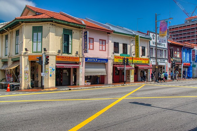 Vibrant traditional shop houses on Serangoon road in Little India in Singapore