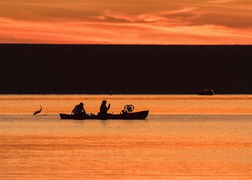 fish fishing fisherman fishermen boat dawn daybreak sunrise sky lake reflections chatfieldstatepark colorado