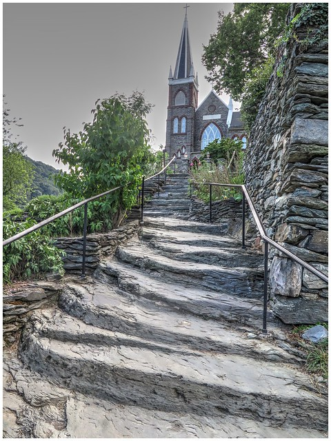 Steps on the Appalachian Trail with St. Peter's Roman Catholic Church on top of the hill @ Harpers Ferry, West Virginia (SFS)