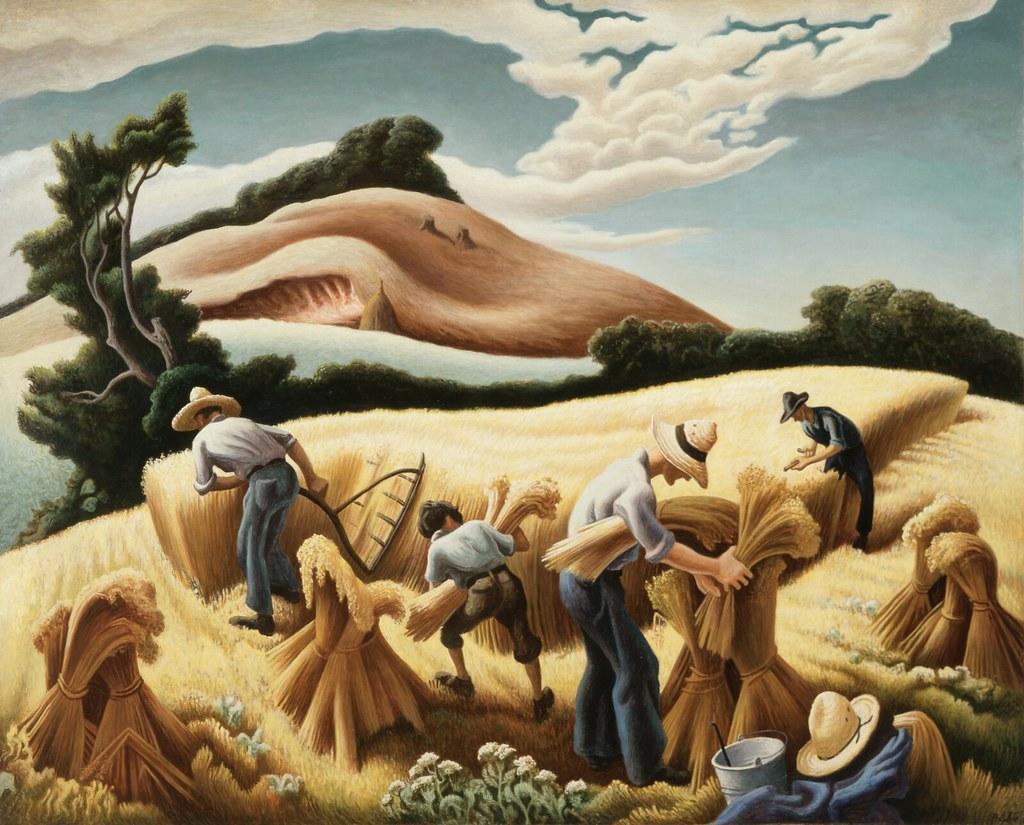 Thomas Hart Benton - Cradling Wheat (1938)