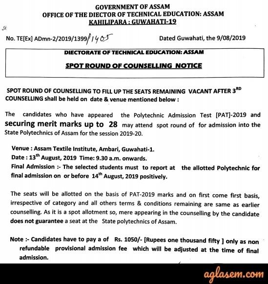 Assam Polytechnic 2019 - Counselling, Result of Assam PAT
