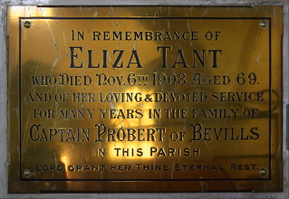 her loving and devoted service for many years in the family of Captain Probert of Bevills