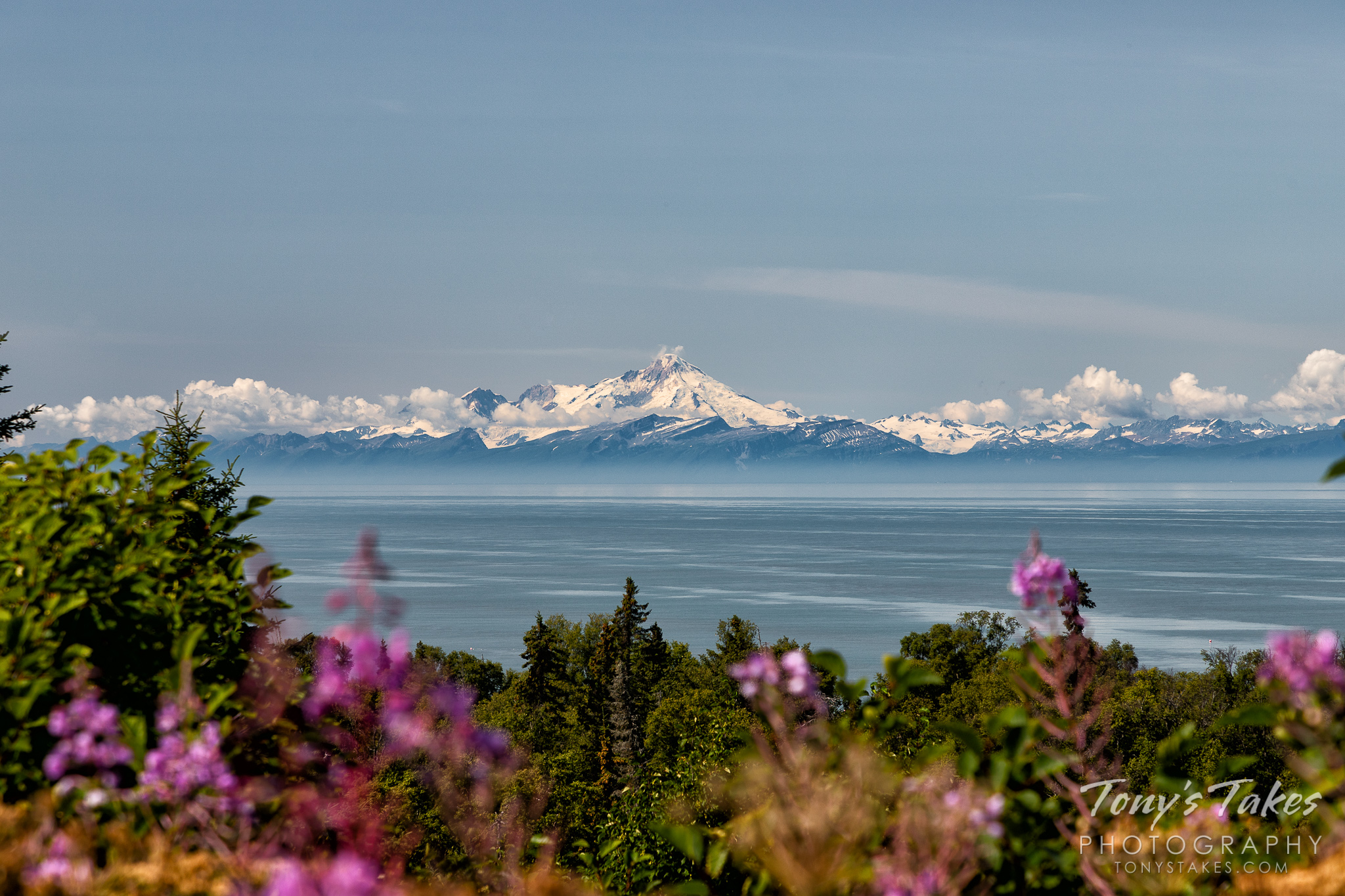 Mount Iliamna is seen from the other side of the Cook Inlet in Alaska. (© Tony's Takes)