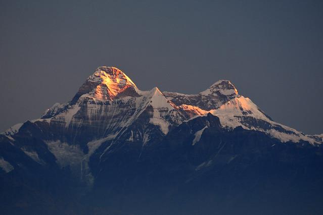 Sunlit Nandadevi peak.