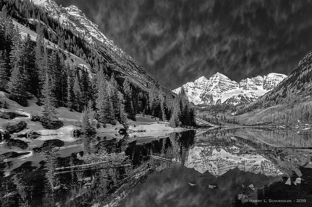 Maroon Bells In B&W