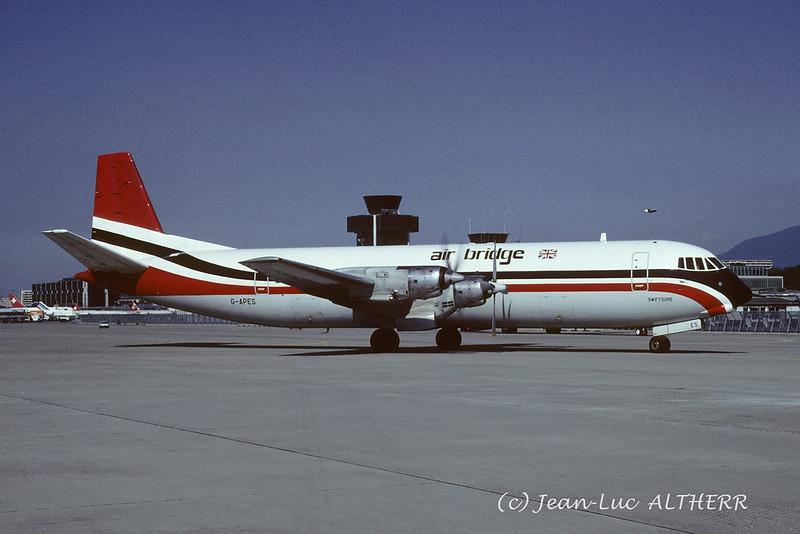 Vickers 953F Merchantman Air Bridge Carriers G-APES. GVA, July 19. 1989