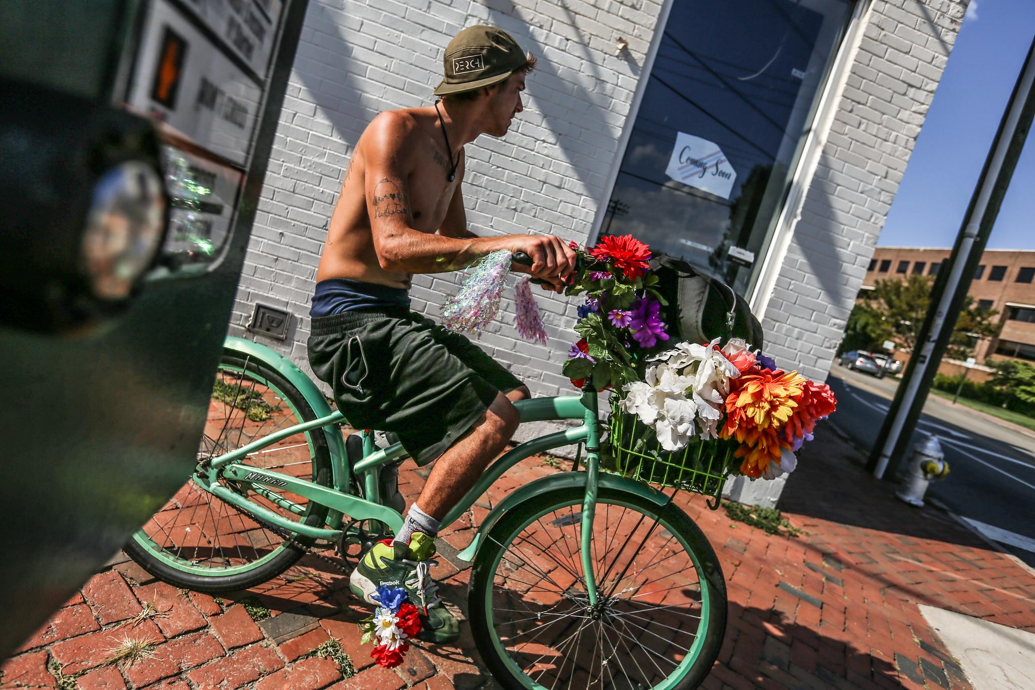 flowery bike man