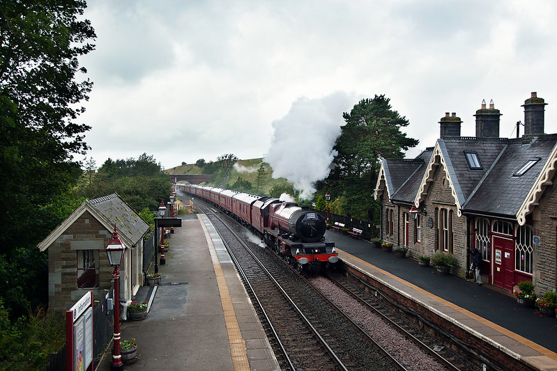 Perhaps it was too wet for ice creams, so having skipped the Appleby stop No.6201 'Princess Elizabeth' powers through Kirkby Stephen Station with a returning Cumbrian Mountain Express.