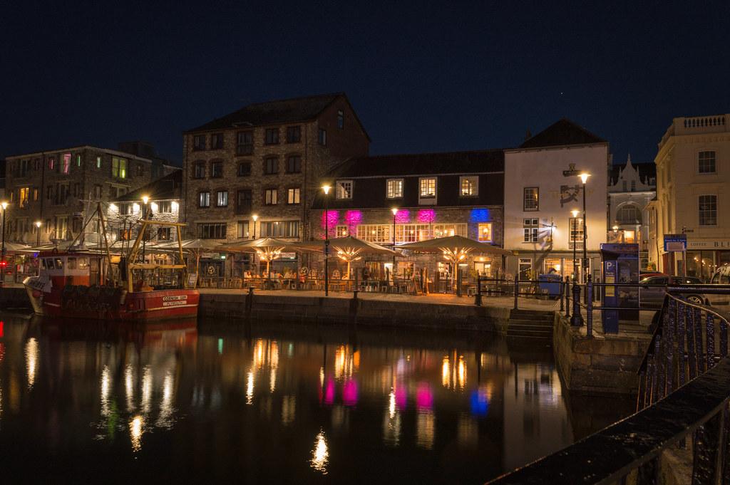 Barbican, Plymouth after dark